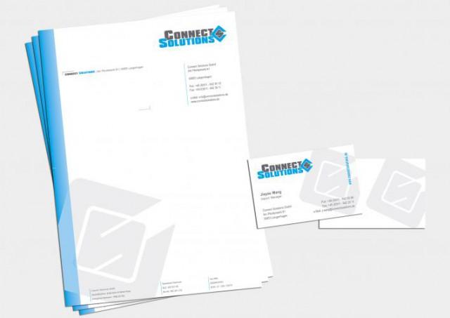 Corporate Design Print Briefpapier Connect Solutions