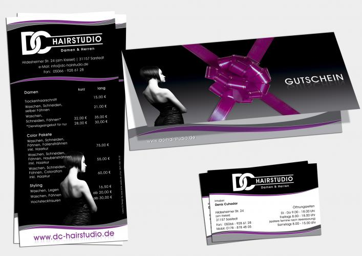 Corporate Design Print Flyer Visietenkarte DC Hairstudio