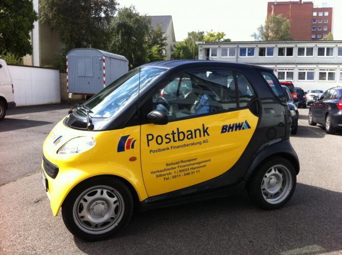 Außenwerbung Postbank Autoaufkleber