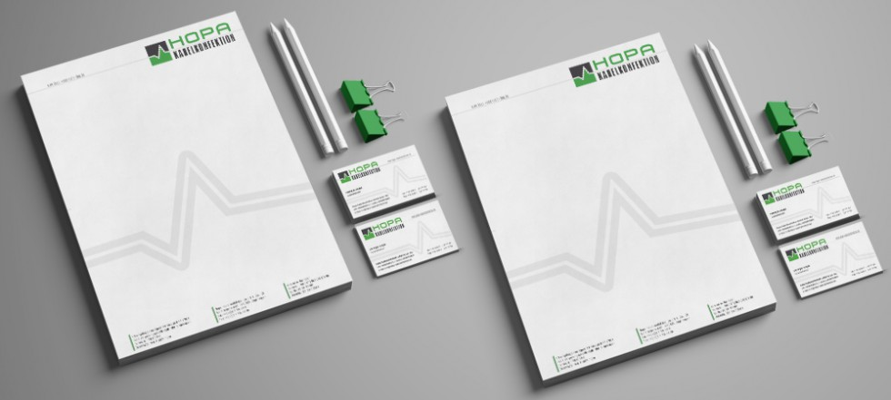 Corporate Design Briefbogen Visitenkarte Hopa Kabelkonfektion